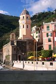 Clocktower In The Town Of Vernazza In Cinque Terre, Italy  poster