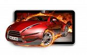 3D TV. Burning sports car on TV screen.