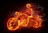 pic of motorcycle  - Fire skeleton riding motorcycle - JPG