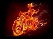 picture of motorcycle  - Burning skeleton riding a motorcycle - JPG