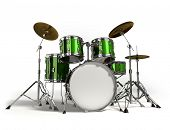 stock photo of drum-kit  - Drum kit isolated on white background - JPG