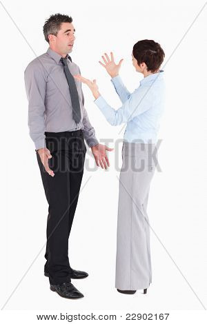Office workers arguing against a white background