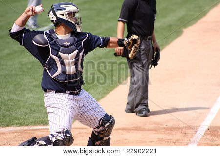 Scranton Wilkes Barre Yankees catcher Gustavo Molina throws