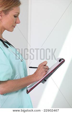 Enfermera de la escritura
