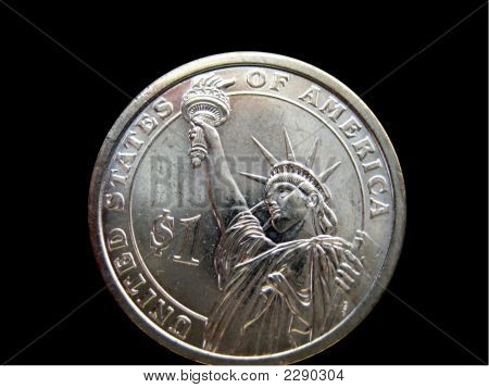 U.S. Dollar Coin On Black