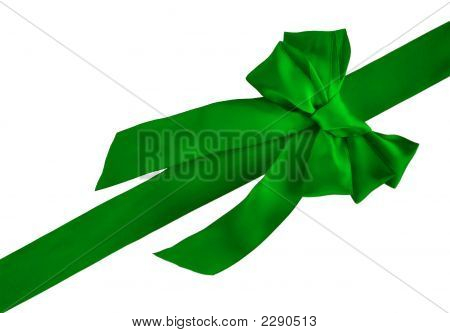 Green Holiday Ribbon And Bow