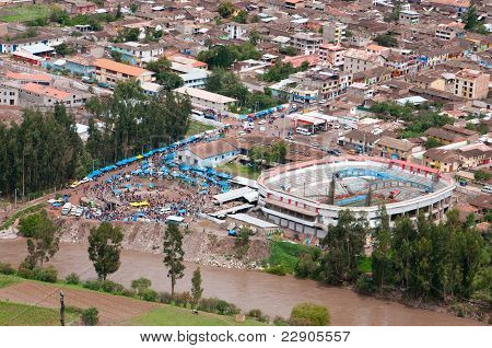 Top view to the marketplace, Peru