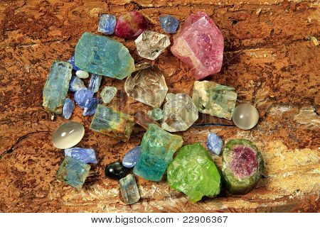 Precious Stones Like, Aquamarine, Tourmaline, Peridot, And Saphire