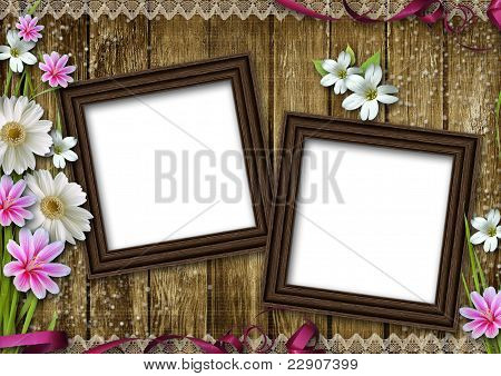 Two Wooden Photo Frames Over Grunge Wood Background