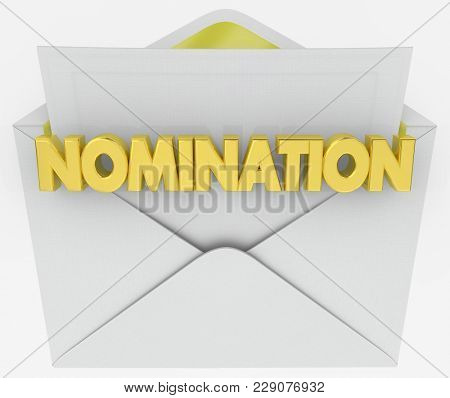 poster of Nomination Envelope Award Finalist Announcement 3d Illustration