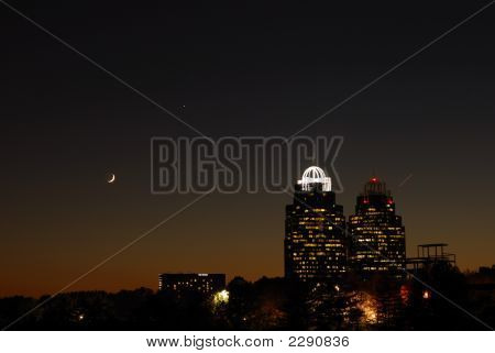 Crescent Moon With Queen And King Building Of Atlanta, Usa
