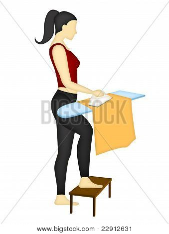 Back and shoulder correct position when ironing