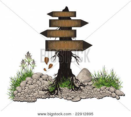 raster Board tree wood guidepost sign