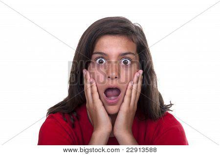 Brunette Teen Girl Afraid