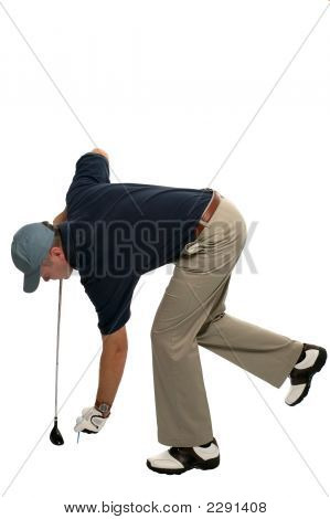 Golfer Teeing Up