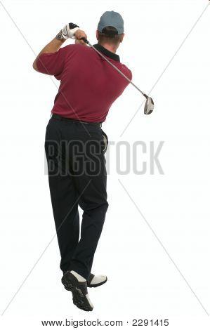 Golfer Back Swing Rear View