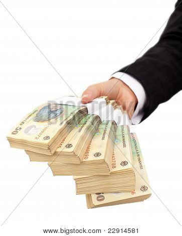 Hand Holding Stack Of Romanian Currency