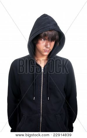 Closeup Of A Teenager Wearing A Hoodie