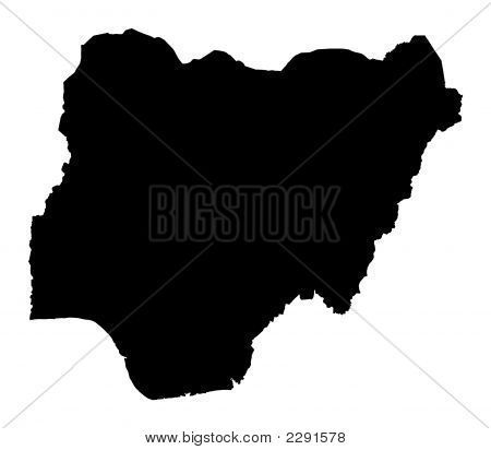 Detailed Isolated Map Of Nigeria