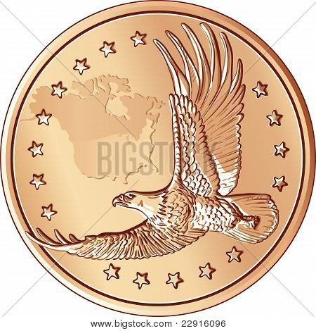 Vector Money, Coin With The Image Of A Flying Eagle