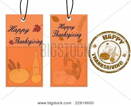 Happy Thanksgiving Labels And Stamp