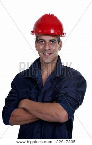 Worker With Red Helmet