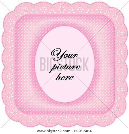 Pink Eyelet Lace Frame