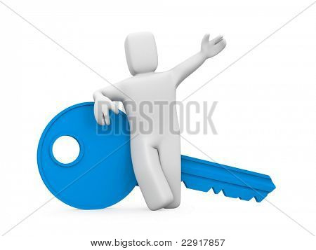 Person with key. Image contain clipping path