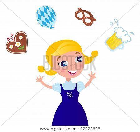 Linda chica de Octoberfest en ropas tradicionales malabares con los iconos.