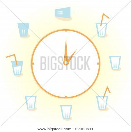 Eight Glasses Of Water Per Day Isolated On White.