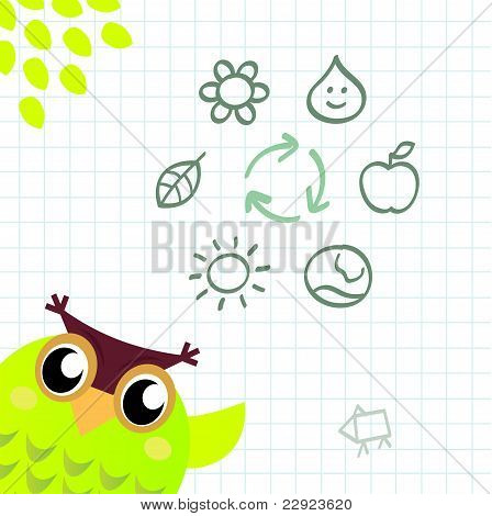 Recycle Owl With Ecology And Nature Icos Set.