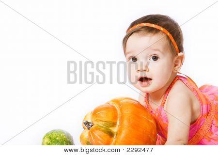 Girl With Pumpkins (Close Up)
