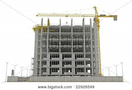 Site Area: Tower Crane And Unfinished Buiding