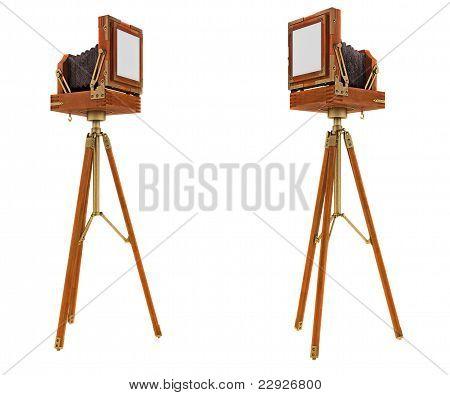 Back Side Views Of Vintage Large Format Camera