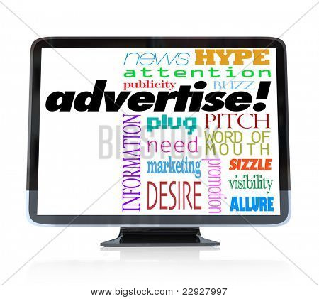 A high definition television with the word advertise and many other words associated with advertising such as word of mouth, attention, visibility, buzz, hype and more