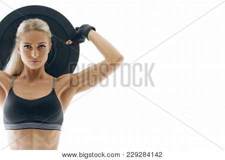 poster of Cropped Photo Fit Confident Athlete Pumping Muscles With Heavy Weight Barbell Plate Perfect Fit Fitn