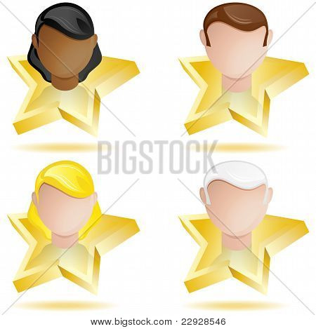 Successful People Head On Golden Star