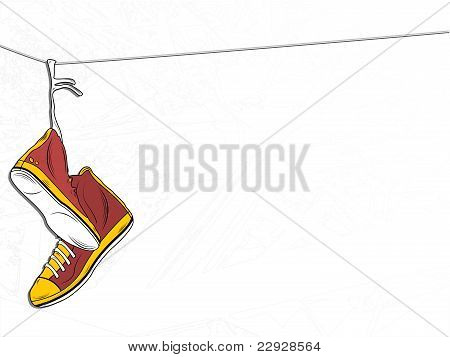 Sneakers Hanging On Wire On White Background