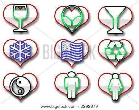 Heart Shaped Web Icons