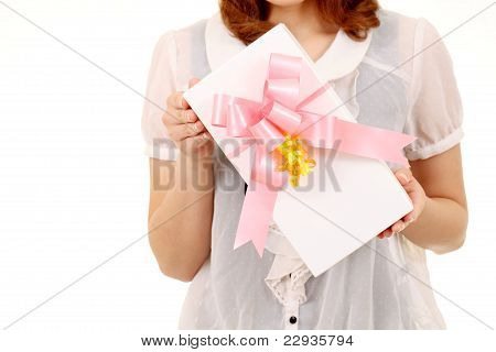 young woman holding a gift box