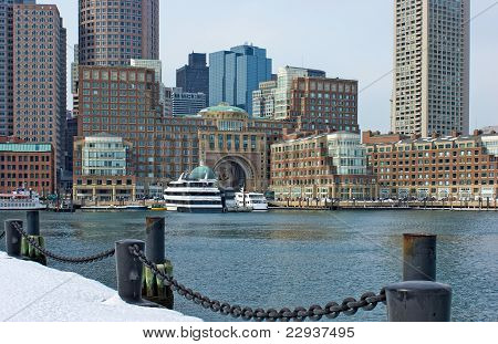 Rowes Wharf With Ships In  Boston Massachusetts