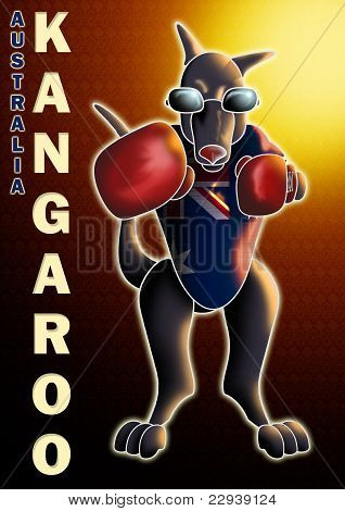 boxing kangaroo with background