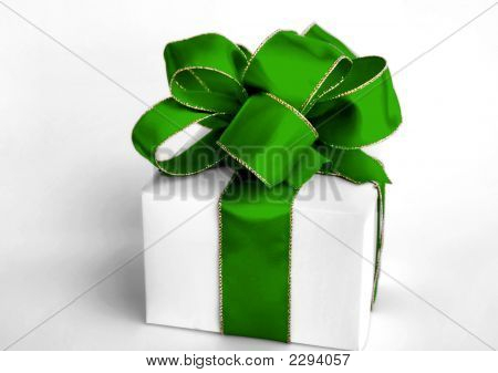 Gift Box With Green Bow