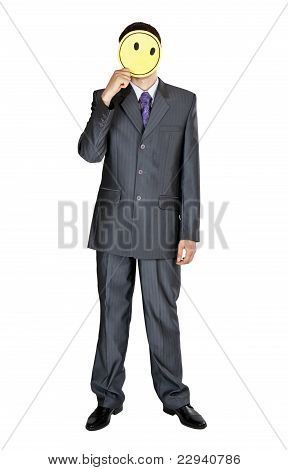 Businessman Covers His Face With A Yellow Round Cardboard Circle