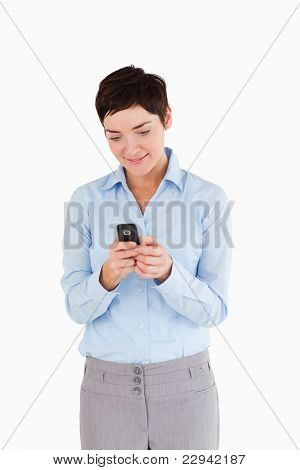 Portrait Of A Businesswoman Sending Text Messages