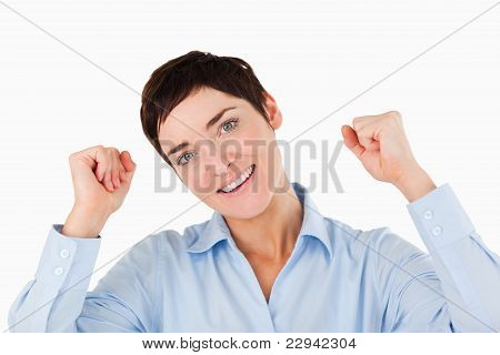 Close Up Of A Cheerful Businesswoman