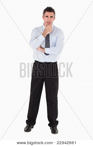 Businessman With His Hand On His Chin