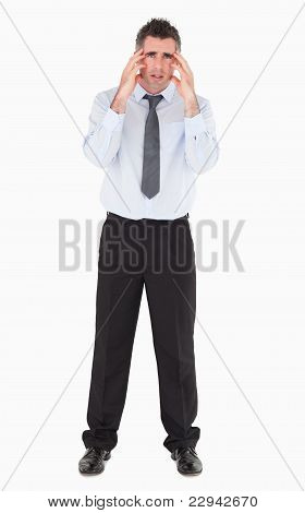 Sad Businessman With His Hands On His Temples