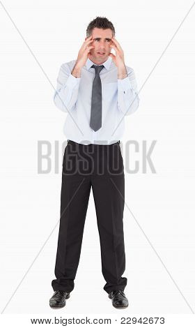 Depressed Businessman With His Hands On His Temples