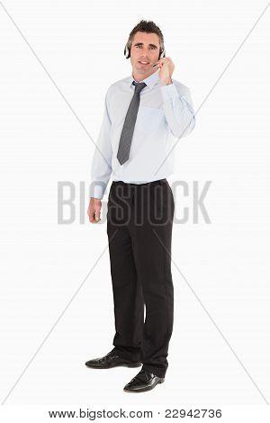 Secretary Posing With A Headset